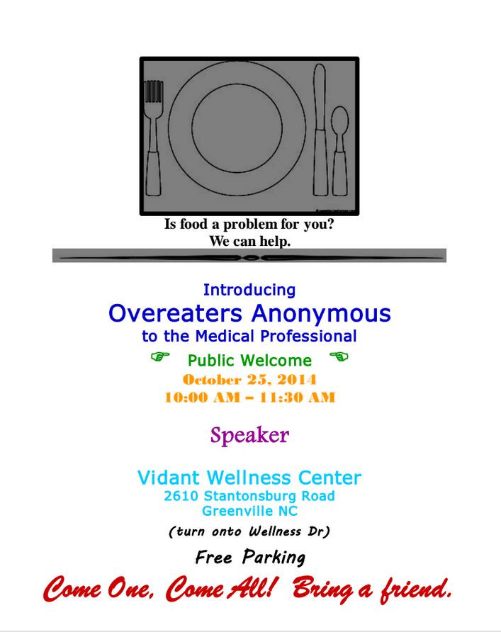 online meetings for overeaters anonymous Overeaters anonymous (oa) is a twelve-step program for people with problems related to food including, but not limited to, compulsive overeaters, those with binge eating disorder, bulimics and anorexics.